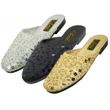 S288L-B - Wholesale EasyUSA Women's Hand Sequin Slides ( *Asst. Black Gold & Silver )