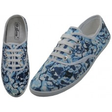 S3001L - Wholesale Women's Printed Lace Up Canvas Shoe ( Blue Printed )  *Last Case