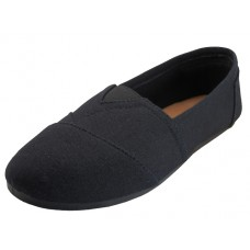 S308L-BB Wholesale Women's Slip On Casual Canvas Shoe ( * All Black Color )