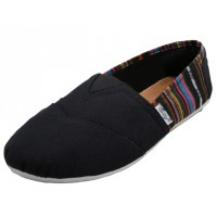S308L-BK Wholesale Women's Slip On Casual Canvas Shoe ( *Black With Color Strp )