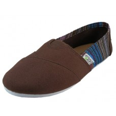 "S308L-T Wholesale Women's ""EasyUSA"" The Most Comfortable Slip On Casual Canvas Shoe ( *Brown Color )"