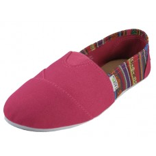 "S308L-F Wholesale Women's ""EasyUSA"" The Most Comfortable Slip On Casual Canvas Shoe ( *Fuchsia Color )"