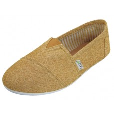 "S308L-Gold - Wholesale Women's ""EasyUSA"" The Most Comfortable Slip On Casual Canvas Shoe ( *Gold  Color )"