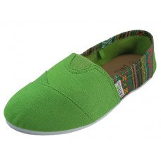 "S308L-Green wholesale Women's :EasyUSA"" The Most Comfortable Slip On Casual Canvas Shoe ( *Green Color)"