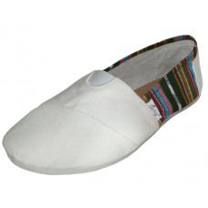"S308L-W Wholesale Women's ""EasyUSA"" The Most Comfortable Slip On Casual Canvas Shoe ( *White Color )"