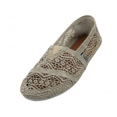 "S309L-C - Wholesale Women's ""EasyUSA"" Crochet Lace Upper Casual Slip On Shoes ( *Beige Color )"