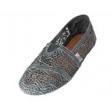"S309L-GRAY -  Wholesale Women's ""EasyUSA"" Crochet Lace Upper Casual Canvas Slip On ( *Gray Color )"