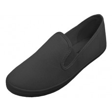 S316G-BB Wholesale Children's Slip On Twin Gore Upper Casual Canvas Shoes ( *All Black Color )