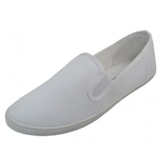 "S316L-W Wholesale Women's ""EasyUSA"" Slip On Twin Gore Cotton Upper Casual Canvas Shoes ( *White Color )"