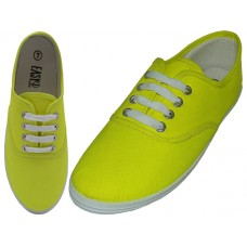 "S324L-Neon-Y Wholesale Women's ""EasyUSA"" Casual Canvas Lace Up Shoes ( *Neon Yellow Color )"