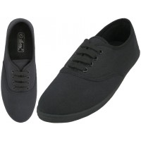 """S324L-BB - Wholesale Women's """"EasyUSA"""" Casual Canvas Lace Up Shoes ( *All Black Color ) *Available In Single Size"""