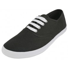 S324L-BK- Wholesale Women's Lace Up Casual Canvas Shoes ( *Black With White Sole And White Shoe Lace )