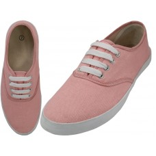 S324L-Coral Wholesale Women's Lace Up Casual Canvas Shoes ( *Coral Color )