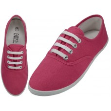 S324L-Fuchsia Wholesale women's Lace Up Casual Canvas Shoes ( *Fuchsia Color )