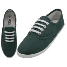S324L-Hunter Green Wholesale Women's Lace Up Casual Canvas Shoes ( *Hunter Green Color )