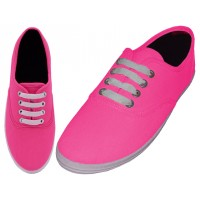 S324-Neon-F Wholesale Women's Casual Lace Up Canvas Shoes ( *Neon Fuchsia )