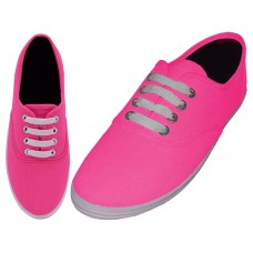 S324L-Neon-F Wholesale Women's Lace Up Casual Canvas Shoes ( *Neon Fuchsia )