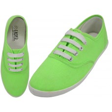 S324L-Neon-G Wholesale Women's Lace Up Casual Canvas Shoes ( *Neon Green )