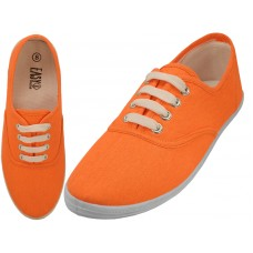 S324L-Neon-A- Wholesale Women's Lace UP Casual Canvas Shoes ( *Neon Orange )