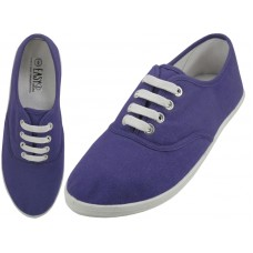 "S324L-Purple Wholesale Women's ""EasyUSA"" Casual Canvas Lace Up Shoes ( *Purple Color )"