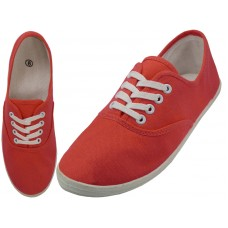 "S324L-Red Coral Wholesale Women's ""EasyUSA"" Casual Canvas Lace Up Shoes ( *Red Coral Color )"