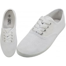 "S324L-W- Wholesale Women's ""EasyUSA"" Casual Canvas Lace Up Shoes ( *White Color ) *Available In Single Size"
