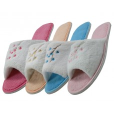 S335 -Wholesale Women's Open Toe Plush with Embroidery Upper House Slippers ( *Asst. 4 Colors )