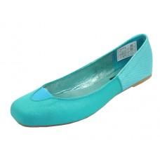 S3500L-Q Wholesale Women's Square Toe Ballet Flats ( *Turquoise Color ) *Closeout $2.00/Pr. Case $36.00 *Last 2 Case