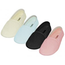 "S4049-L - Wholesale Women's ""EasyUSA"" Cotton Terry Upper Close Toe And Close Back House Slippers ( *Asst. Pink, Lt. Blue, Lt. Green, Beige And Black ) *Available In Single Size"
