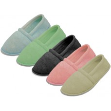 S4049-L - Wholesale Women's Cotton Terry Upper Close Toe And Close Back House Shoes ( *Asst. Pink, Lt. Blue, Lt. Green, Beige And Black ) *Open Stock