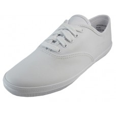 S444L-W Wholesale Women's Leather Upper Shoes With Shoelace. ( *White Color )