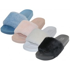 S5115L-A Wholesale Women's Faux Fur Open Toe Slide Sandals ( Asst. *Black, White Pink And Blue )