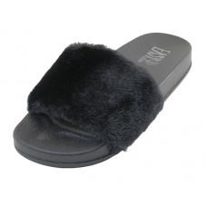 S5115L-BB Wholesale Women's Faux Fur Open Toe Slide Sandals ( *Black Color )