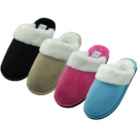 S5288L-A - EasyUSA Women's Velour Plush Scuff House Slippers ( *Asst. Color )