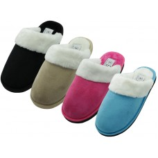 S5288L-A - EasyUSA Women's Velour Plush Scuff Upper With Faux Fur Cuff House Slippers ( *Asst. Black, Beige, Dk. Pink And Blue )
