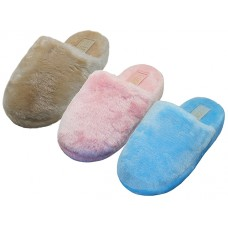 "S831L-A - Wholesale Women's ""EasyUSA"" Heavy Plush Close Toe Open Back House Slippers ( Asst. Pink, Beige & Lt. Blue )"