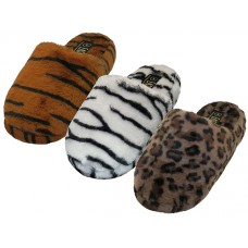 "S831L-T - Wholesale Women's ""EasyUSA"" Animals Printed Heavy Plush Close Toe And Open Back House Slippers ( Asst. Tiger Zebra & Leopard )"