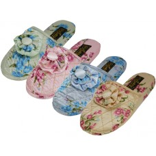 "S533-L - Wholesale Women's ""EasyUSa"" Quilted Satin Floral Upper Close Toe Printed House Slippers ( *Asst. Floral Print Color )"