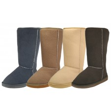S5510L-A - Wholesale Women's Flannel Lining Winter Boots ( *Asst. Gray, Brown, Tan & Beige )