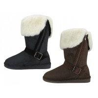 S5520L-Black & Brown -  Wholesale Women's Micro Suede Foldover Warm Winter Boots With Faux Fur Lining And Side Zipper ( *2 Assorted Colors )