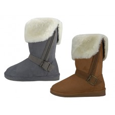 S5520L-G/C -  Wholesale Women's Micro Suede Foldover Warm Winter Boots With Faux Fur Lining And Side Zipper ( *Gray & Beige Assorted Colors )