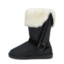 S5520L-B Wholesale Women's Micro Suede Foldover Warm Winter Boots With Faux Fur Lining And Side Zipper ( *Black Color )