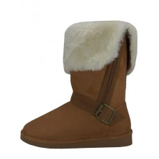S5520L-C Wholesael Women's Micro Suede Foldover Warm Winter Boots With Faux Fur Lining And Side Zipper ( *Beige Color )