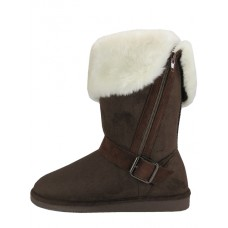 S5520L-T - Wholesale Women's Micro Suede Foldover Warm Winter Boots With Faux Fur Lining and Side Zipper ( *Brown Color )