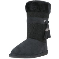 S5570L-B Wholesale Women's Comfortable Micro Fiber Knitts Faux Fur Lining Winter Boots With Tassel ( *Black Color )