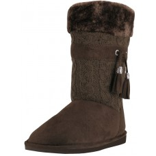 S5570L-T Wholesale Women's Comfortable Micro Fiber Knitts Faux Fur Lining  Winter Boots With Tassel ( *Brown Color )
