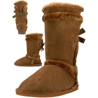 S5590L-C Wholesale Women's Micro Fiber Faux Fur Lining Boots ) *Beige Color )