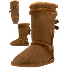 S5590L-C Wholesale Women's Comfortable Micro Fiber Faux Fur Lining Winter Boots ) *Beige Color )