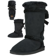 S5590L-B Wholesale Women's Comfortable Micro Fiber Faux Fur Lining Winter Boots ( *Black Color )