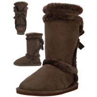 S5590L-T Wholesale Women's Micro Fiber Faux Fur Lining Winter Boots ( *Brown Color )